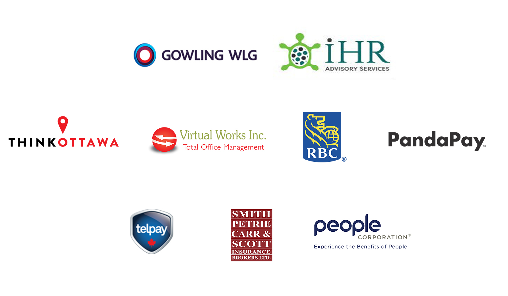Gowling WLG; iHR Advisory Services; ThinkOttawa; Virtual Works Inc. Total Office Management; RBC; PandaPay; Telpay; Smith, Petrie, Carr & Scott Insurance Brokers Ltd.; People Corporation, Experience the Benefits of People